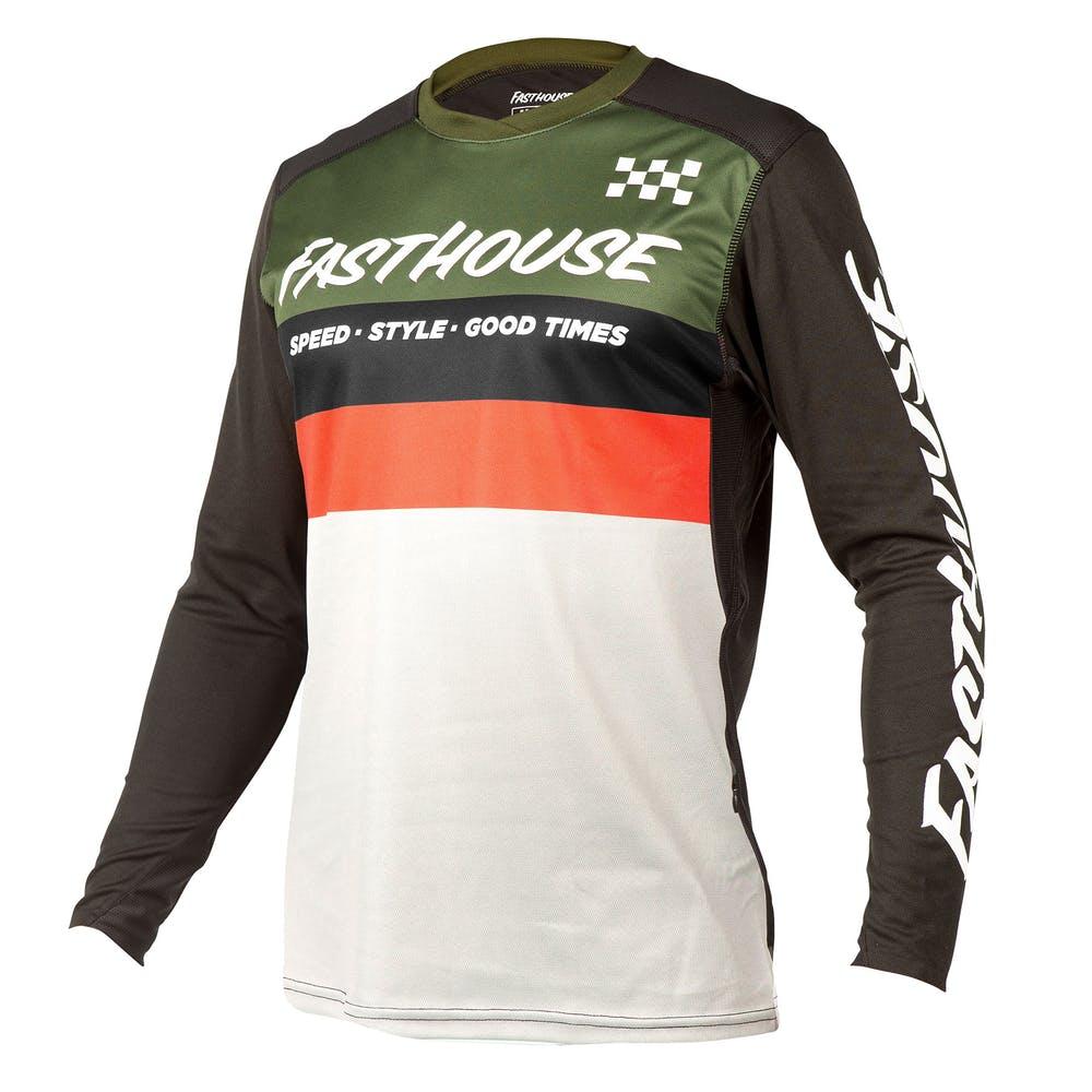 BMXProtect Raceshirt ALLOY KILO OLIVE/WHITE
