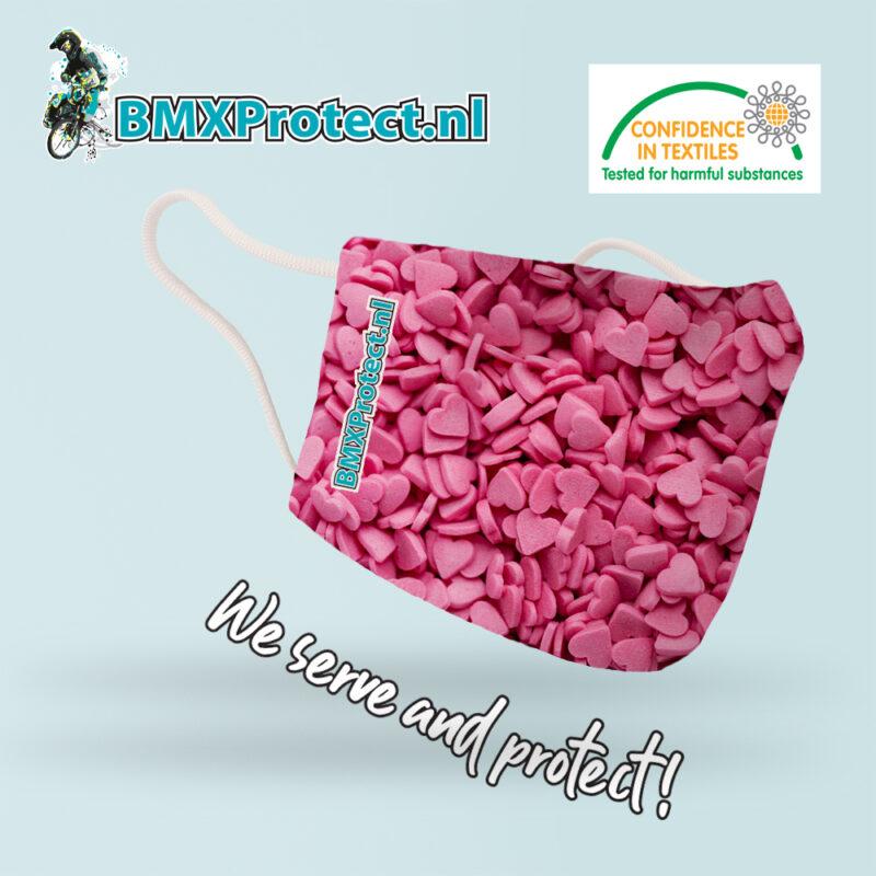 fashion mondkapje pink hearts