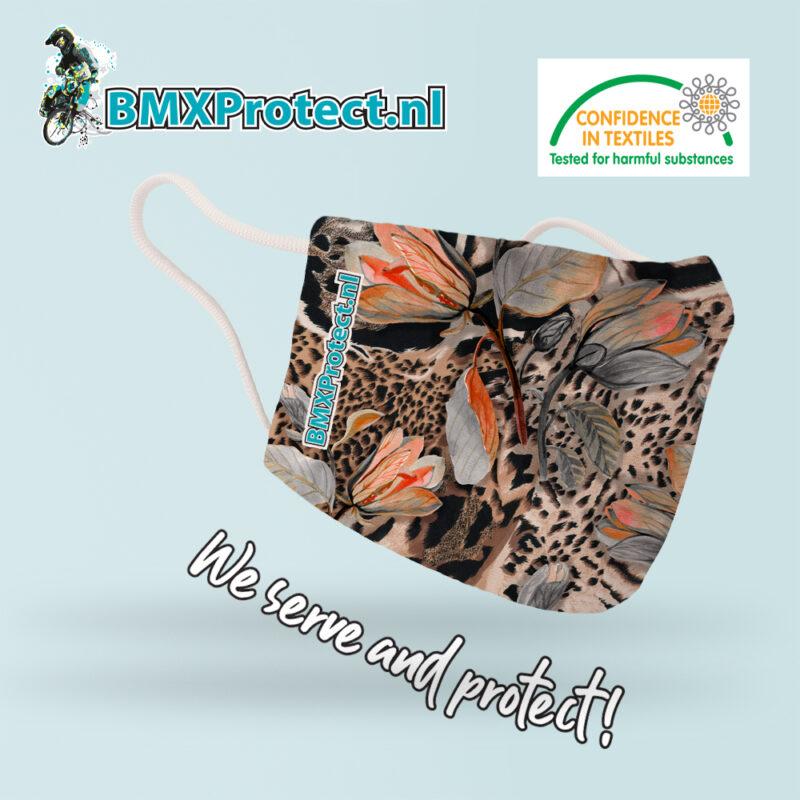 fashion mondkapje leopard_feathers